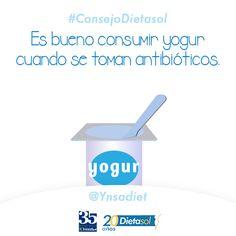 #ConsejoDietasol Los antibióticos destruyen la flora intestinal, por eso el yogur ayuda a la reconstrucción. También son buenas las leches fermentadas o probióticas.