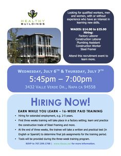 We're Hiring! Check out this flyer or go to our web site hbusa.net !