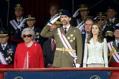 Princess Pilar de Borbon Prince Felipe of Spain and Letizia attend the Royal Guards Flag ceremony 5/10/2013