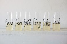 I discovered this Personalized Stemless Champagne Flutes, Glass or Plastic Wedding Calligraphy for Bachelorette Party, Wedding, Shower, New Years on Keep. View it now.