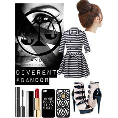 *DIVERGENT* CANDOR #get_the_look by dianasirca on Polyvore featuring polyvore fashion style RED Valentino Hervé Léger Casetify Chanel Pin Show GE