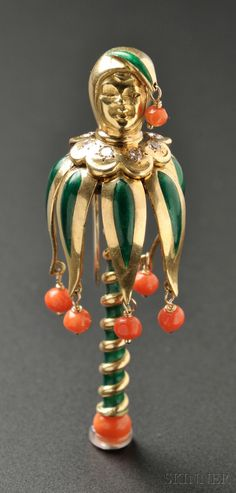 18 kt zlato, smalt, a Coral Jester Clip brož, Van Cleef & Arpels   Prodej Číslo 2624B, Číslo šarže 722   Skinner Auctioneers