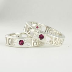 """Sterling Silver Roman Numeral Rings in """"Pierced"""" Style"""