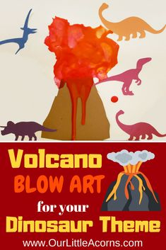 Try this fun and simple volcano blow art technique for your preschool dinosaur theme. Try this fun and simple volcano blow art technique for your preschool dinosaur theme. Dinosaur Art Projects, Preschool Art Projects, Preschool Art Activities, Dinosaur Crafts For Preschoolers, Preschool Printables, Dinosaurs For Toddlers, Preschool Weekly Themes, Volcano Activities, Kindergarten Themes