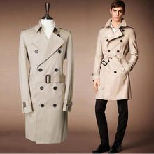 fc3ae67484d5d 2016 Hot New Lycra Polyester Cotton Full Men Winter British Style Autumn  Double-breasted Trenches Coat For Men