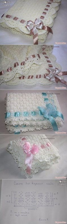 """Lindas colchas bebé tejidas a crochet. """"Crochet baby blanket - easy, quick and pretty!"""", """" However, very rarely do we see the tutorial that teaches us t Baby Afghan Crochet, Crochet Blanket Patterns, Hand Crochet, Crochet Stitches, Free Crochet, Knitting Patterns, Crochet Hats, Doll Patterns, Diy Crafts Crochet"""