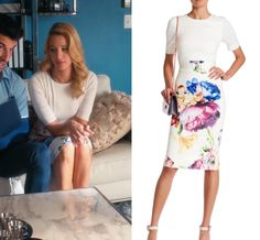 """4x05 Petra Solano (Yael Grobglas) wears this pink elbow length sleeve dress with blocked floral pencil bodycon skirt in this episode of Jane the Virgin, """"Chapter Sixty-Nine"""". It is the Ted Baker London Aldora Tapestry Floral Belted Dress. Buy it HERE Previously worn: Season 3 Episode 20"""