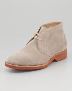 Suede Desert Boot, Gray by Brunello Cucinelli at Neiman Marcus $745