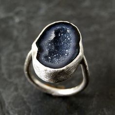 Dark Lavender Geode Ring in Sterling Silver by anatomi on Etsy, $90.00