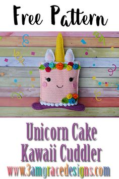 How To Crochet A Unicorn Cake Amigurumi Cuddler Pillow. Our Free Unicorn Cake Crochet Pattern Works Up Quickly! Kawaii Crochet, Cute Crochet, Crochet For Kids, Easy Crochet Patterns, Crochet Patterns Amigurumi, Crochet Dolls, Crochet Blocks, Knitting Patterns, Crochet Cushions