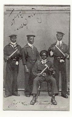 Postcard 1911 Lagos Fire Police, Southern Nigeria. Publisher: Photoholm.