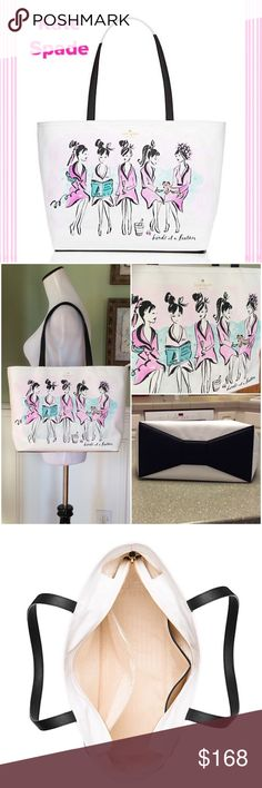 """Kate Spade Wedding Belles Francis Super Cute!!!  Great gift for your bridesmaid or just to have a girly bag!!!  This is brand new, never used, just can't find the tag .  Oil print canvas with crosshatched leather trim. Dual shoulder straps w/9"""" drop. Zip closure. Interior has Kate Spade signature lining, zip pocket and 2 slip pockets. Bottom is super cute with black leather bow. Measures 15""""X11""""x7"""" kate spade Bags Shoulder Bags"""