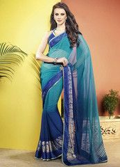 Wear #light and #dark #blue color #Georgette material #casual #saree #sari for any #family function. #2014 #New #collection.