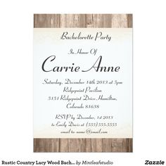 Rustic Country Lacy Wood Bachelorette Party Invite