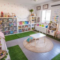 Office playroom - Organization and beautiful materials promotes deep, meaningful play Small Playroom, Toddler Playroom, Office Playroom, Playroom Design, Playroom Decor, Kids Room Design, Playroom Ideas, Unfinished Basement Playroom, Kids Playroom Storage