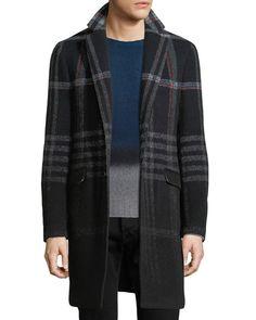 Plaid Wool-Blend Single-Breasted Coat