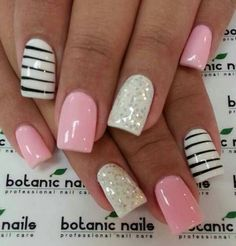Pink, stripes, and sparkle white.