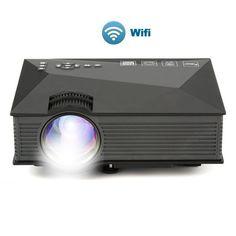 "Xinda PJ46 WiFi Wireless Updated Full Color 130"" Image Pro Mini Portable LCD LED Home Theater Cinema Game Projector,AV in, HDMI, VGA, USB, Memory SD card"