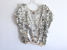 80s Oversized Silver Sequined Silk Blouse / Silver Disco Sequins Cap Sleeved Silk Shirt / Shiny Sparkly Slouchy Stretch Waist Top Size LG   This is