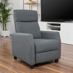 tahiry grey fabric recliner club chair