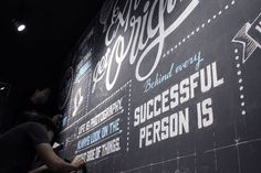 White - Blue chalk typo drawing on Behance Typo Design, Photo Wall, Behance, Hipster Style, Neon Signs, Community, Lettering, Wall Photos, Drawings