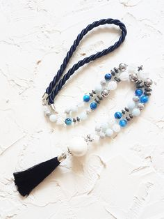 Long tassel necklace, White necklace, Navy blue necklace, Agate necklace, Aquamarine necklace, Hematite necklace, Spring necklace, Gift idea by GentleColorsJewelry on Etsy