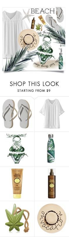 """BEACH ☀️"" by hessa-46 ❤ liked on Polyvore featuring Hollister Co., WithChic, S'well, Sun Bum and August Hat"