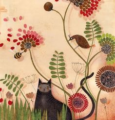 "Wonderful work of Marie Desbons, ""ilutratice francaise""...that also have some products in La Marelle, the lines are great but she also patterned everything, wing, leaves. etc."