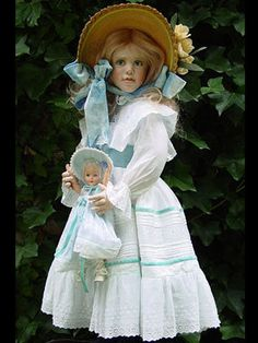 "Susan Krey Blue Girl One of A Kind Krey Classic. Blue Girl Is A One-Of-Kind Wax Over Porcelain Krey Classic Measuring 28"" In Height"