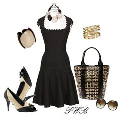 Black and Brown Print Dress and Oxford Shoes, created by pamela-barrett-williamson