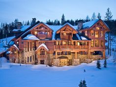 Log Cabin Log Homes Log Mansions Log Cabin Kits Country Living Gardening Casa Hotel, Whitefish Montana, Winter Cabin, Winter Homes, Winter Mountain, Winter Night, Log Cabin Homes, Luxury Log Cabins, Expensive Houses