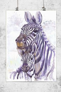 Zebra with a toddler wildlife watercolor wall decor by ValrArt
