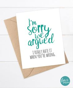 Funny Sorry Card Boyfriend Card Girlfriend Card by FlairandPaper