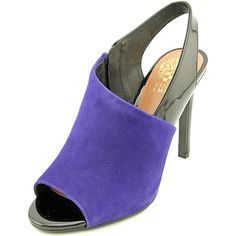 """Vince Camuto Kaela Women US 10 Blue Slingback Heel. The style name is Kaela. The style number is KAELA-OUTSPAC/BLK. Brand Color: Outer Space/Black (Main Color: Blue). Material: Suede. Measurements: 4.25"""" heel. Width: B(M)."""