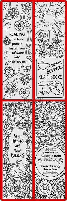 8 Coloring Bookmarks With Quotes And Abstract Designs
