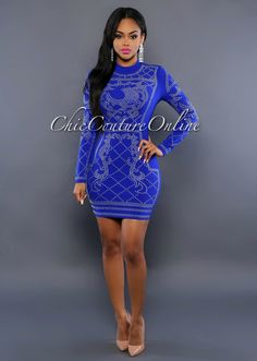 Chic Couture Online - Antigona Royal-Blue Silver Studded Dress, (http://www.chiccoutureonline.com/antigona-royal-blue-silver-studded-dress/)