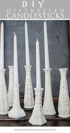 Creating Distressed Candlesticks from Glass Bud Vases painted with DIY chalk paint. Painted right onto the glass and it adhered with no problems. Use fine sandpaper to distress. Upcycled Crafts, Repurposed, Art Decor, Diy Home Decor, Vase Design, Thrift Store Crafts, Thrift Stores, Bud Vases, Frugal