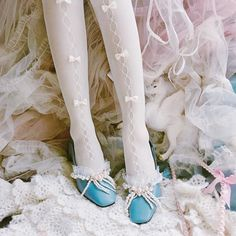 [leggycozy] Japanese Vintage Style Lovely Hollow Out Bowknot Lace Silk