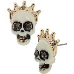 Betsey Johnson Pet Shop Skull Studs