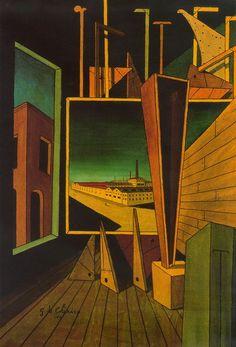 Composición geométrica con paisaje de fábrica - Giorgio de Chirico ·  1917