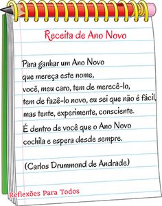 Receita de Ano Novo (Carlos Drummond de Andrade) - acesse a poesia completa, com link para vídeos.