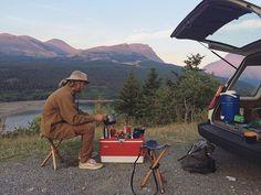 Morning coffee in Glacier, Montana ☕️Repost from @riahbeth  #craftedforadventure #jerrychair
