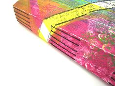Longstitch handmade journal with Slotted Wrapper and a gelatin printed journal cover!