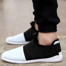 Homens Slip-on casual sapatos preto/branco respirável Running Tênis Fashion Sport