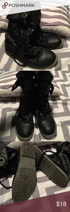 Black combat boots! 💗 Super edgy! All black w/ sweater material & fleece type lining. Shoes Combat & Moto Boots
