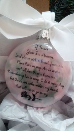 """Aunt Memorial Gift """"If Roses Grow In Heaven"""" In Memory of Auntie Personalized Christmas Ball - Sympathy Gift Remembrance Bauble Loss by ShopCreativeCanvas on Etsy"""