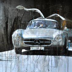 Markus Haub Mercedes 300 SL silver Edition auf Metall (Dibond) ab 25 x 25 cm ab  49,00 € http://www.artfan.de/haub-markus-mercedes-300-sl-silver-kunst-kaufen-junge-kunstler.html