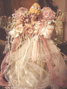Shabby Chic Angel Christmas Tree Topper by VictorianDesign on Etsy Shabby Chic Christmas, Pink Christmas, Christmas Angels, Christmas Time, Christmas Crafts, Christmas Decorations, Christmas Ornaments, Christmas Ideas, Raindrops And Roses