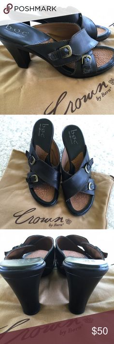 """Born Crown Concept Slides Who doesn't like the all day comfort and quality of Born? Worn twice, these are in excellent condition. 4"""" heel, 1/2"""" platform, upper strap is adjustable. Born Shoes"""