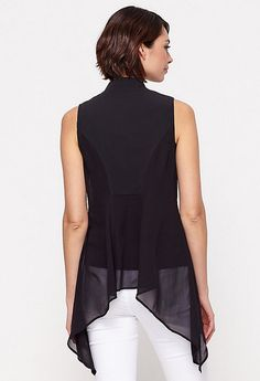 EILEEN FISHER BLACK ZIP UP ASYMMETRIC TOP Black Zip Ups, Asymmetrical Tops, Eileen Fisher, Peplum, Designers, Women, Fashion, Moda, Women's